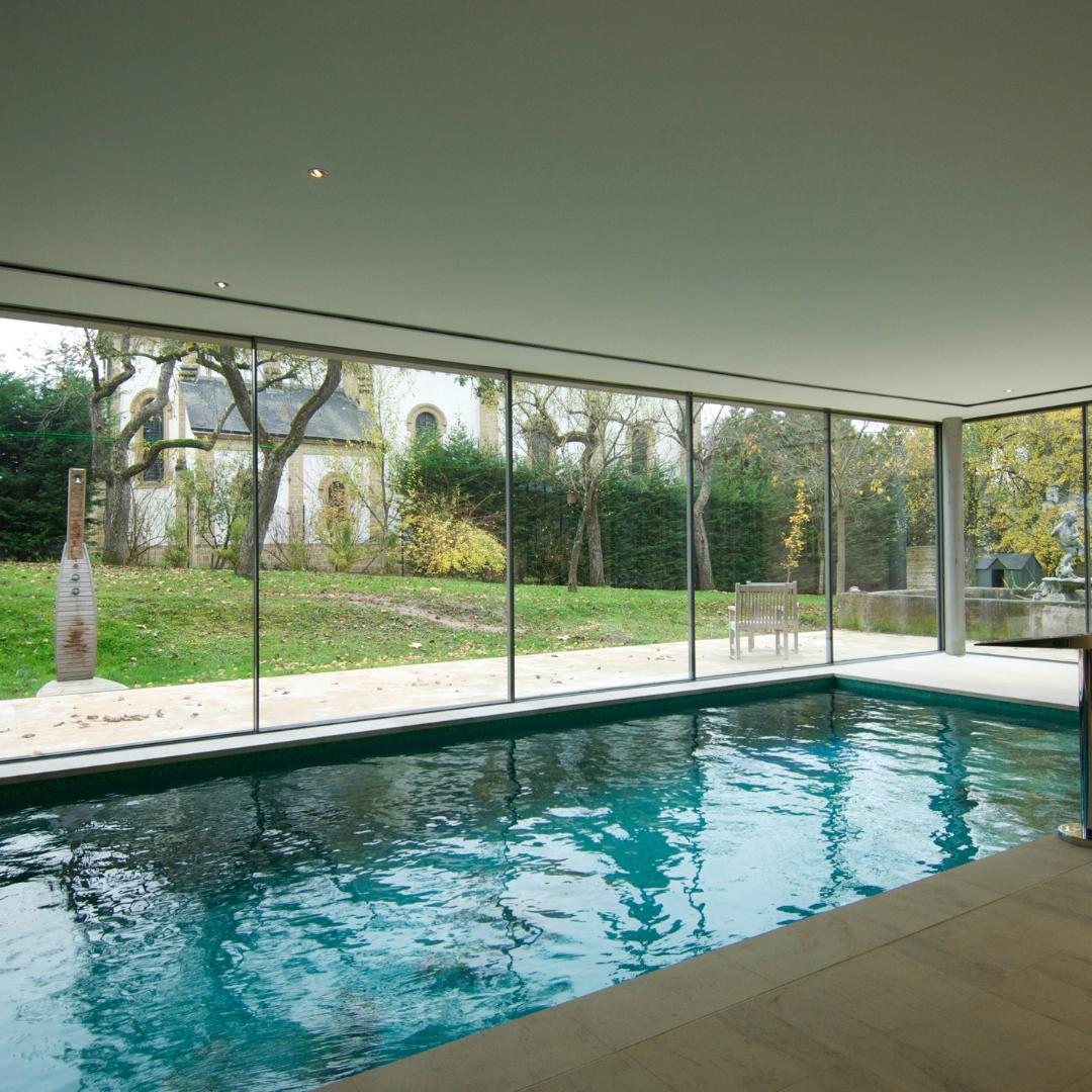 Open Corner Sliding Doors Minimal Windows Indoor Pool House