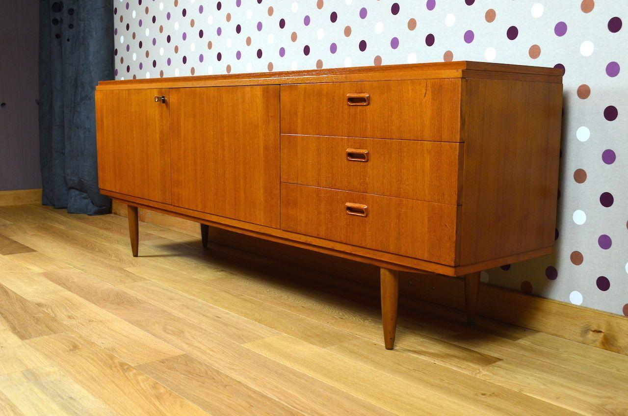 enfilade design scandinave en teck vintage 1965. Black Bedroom Furniture Sets. Home Design Ideas