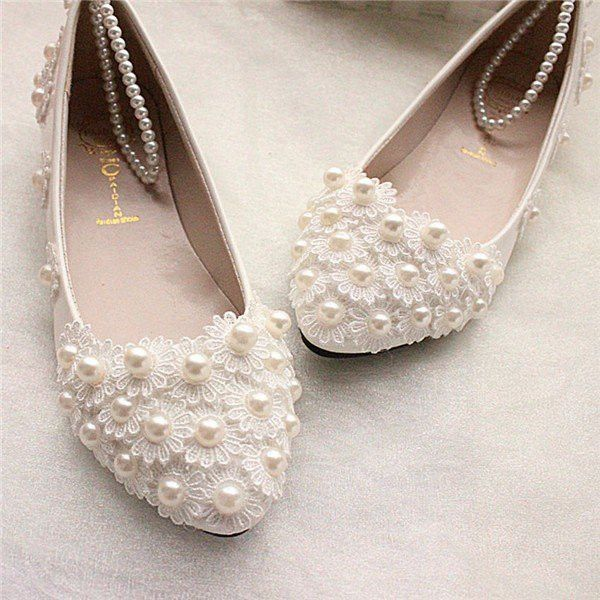 Wedding Lace White Bead Pearl Flower Bridals Flat Shoes Wedding
