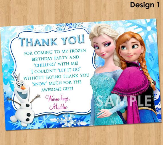 Disney Frozen Thank You Card Frozen Thank By Kidspartyprintables 4 99 Frozen Invitations Frozen Bday Party Frozen Themed Birthday Party