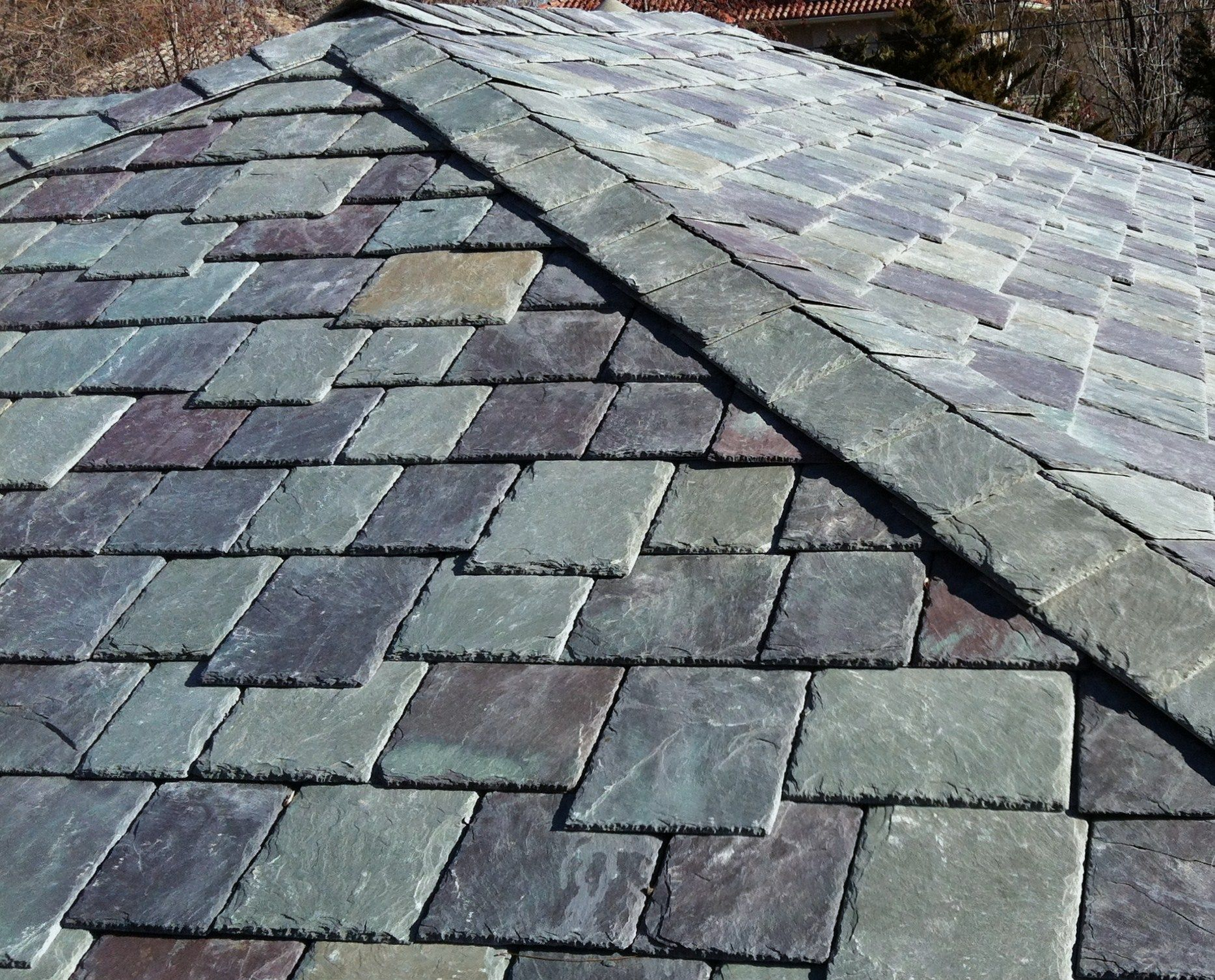 Slate Roof Tiles   Forget Roof Tiles, Angled Tiles On A Path Thru The Garden
