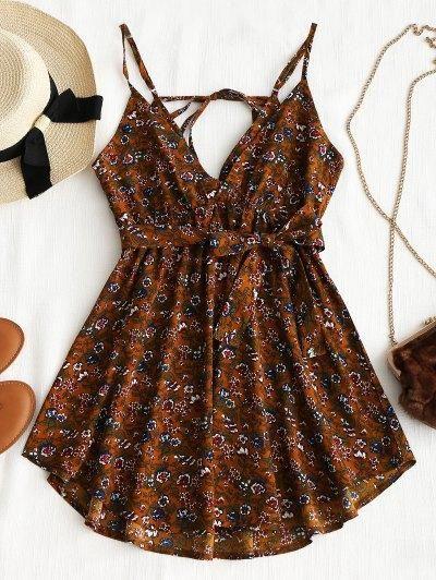 AdoreWe  Zaful -  Zaful Floral Belted Mini Dress - AdoreWe.com b18797382efa