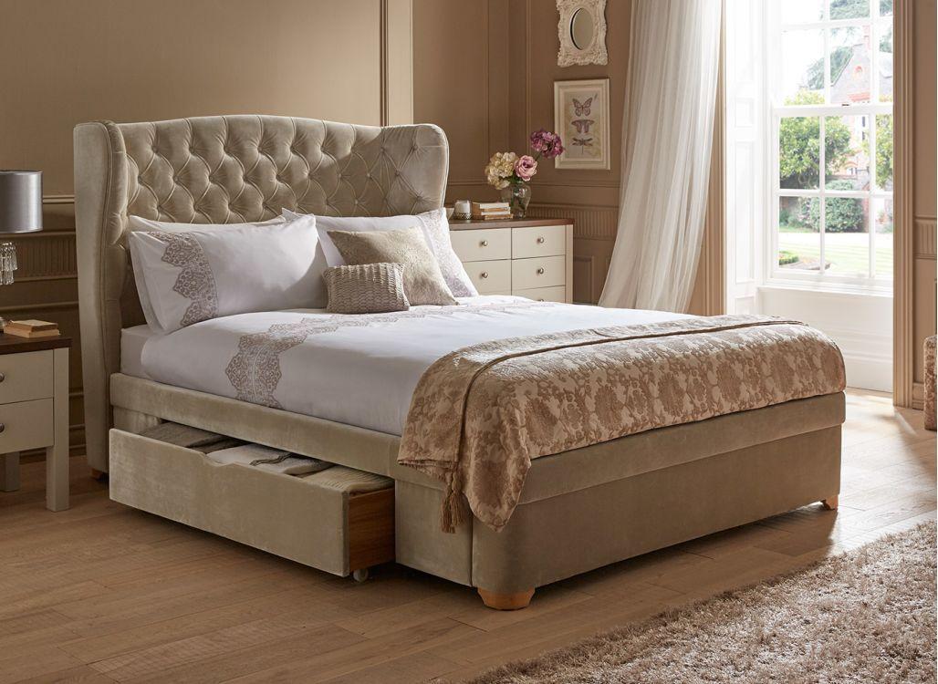 New Maree Natural Velvet Effect Upholstered Bed Frame