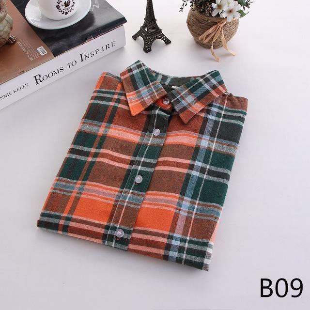 Plaid Long Sleeve Shirt Sleeve Length(cm): Full Fabric Type: Flannel Collar: Tur... 2