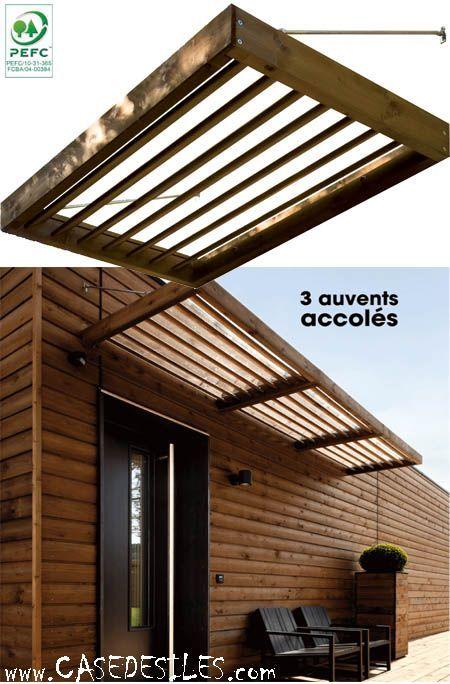 Auvent porte fenetre lames ajourées moderne 71 Pergolas and Backyard