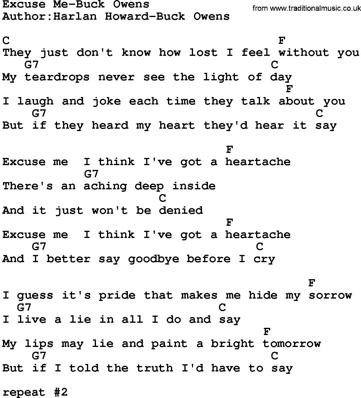 Buck owens song lyrics country music song excuse me buck owens country musicexcuse me buck owens lyrics and chords hexwebz Gallery