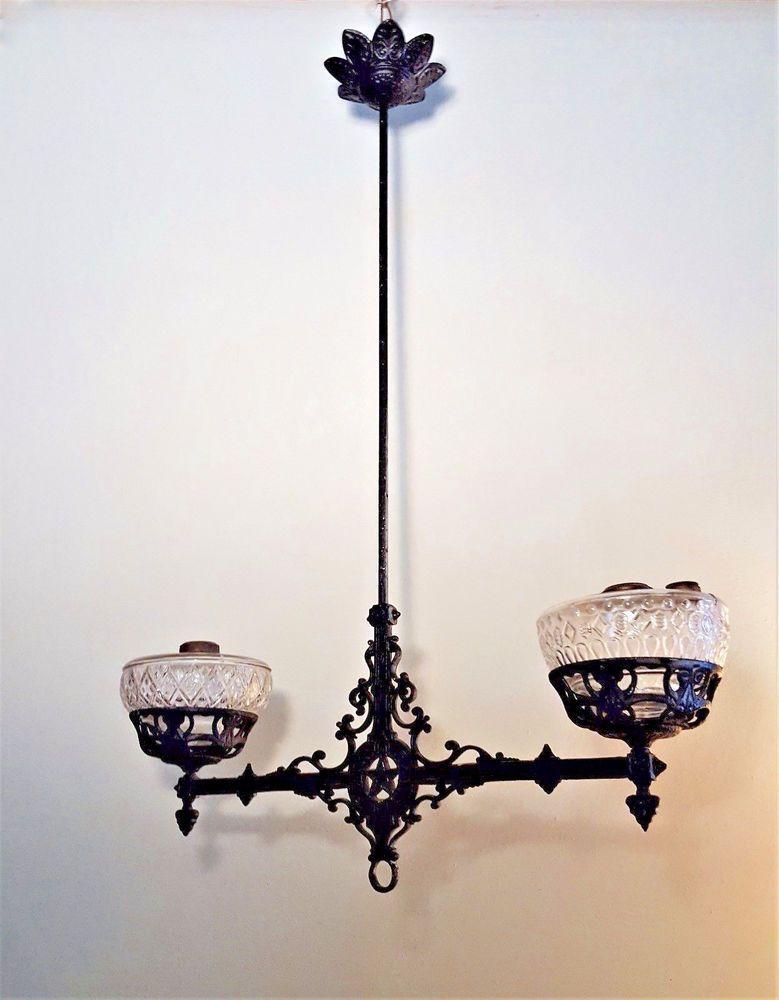 Antique Rare Cast Iron Double Oil Lamp Hanging Ceiling Fixture