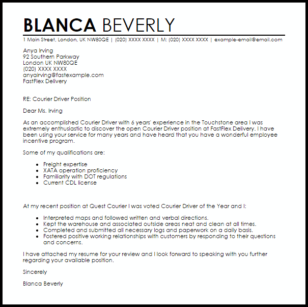 courier driver cover letter sample livecareer train example icover  Mom  Cover letter sample