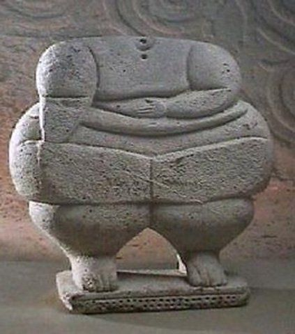 "Neolithic statue, Malta. Many historians believe that this type of statue, dubbed ""fat ladies"", represented an ancient fertility goddess."