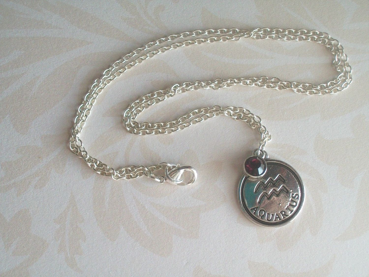 Aquarius Necklace February Birthstone Water Bearer Age of