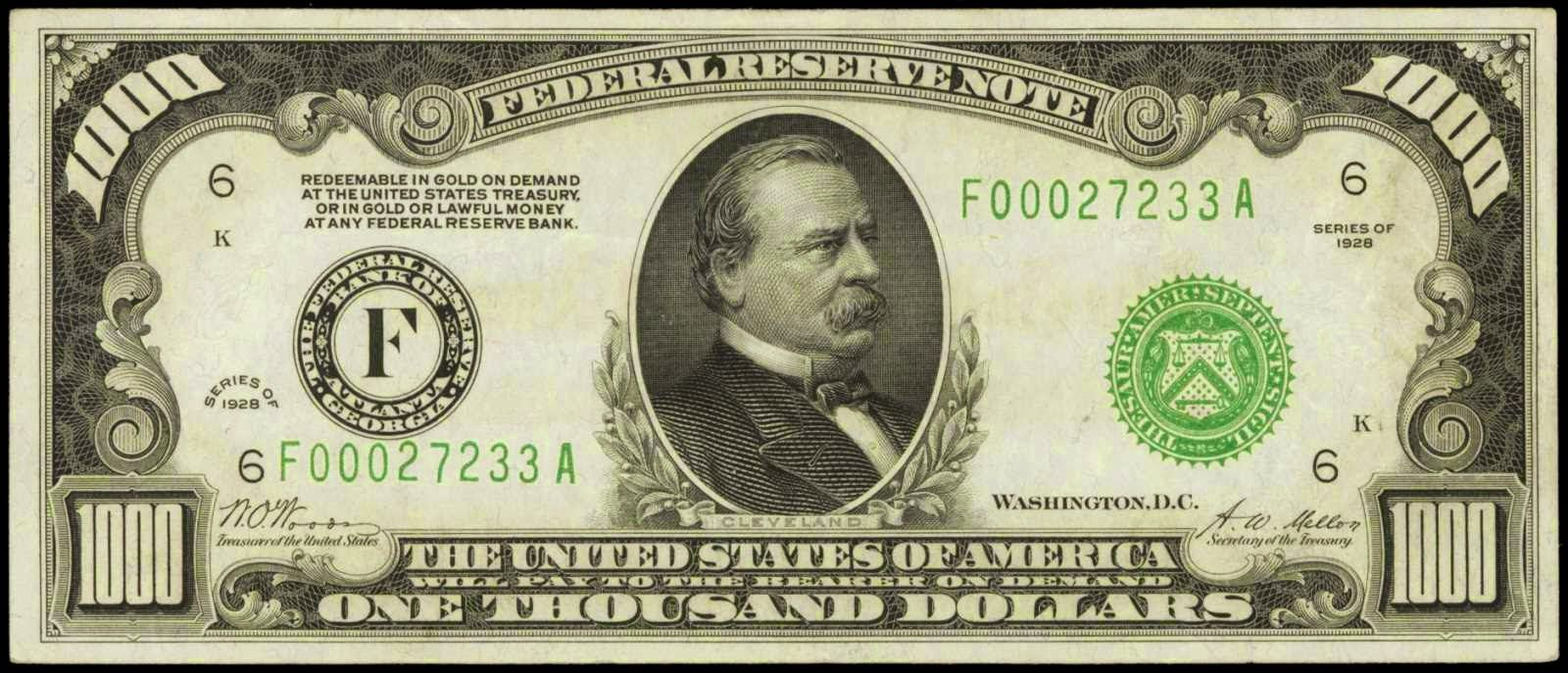 1928 One Thousand Dollar Federal Reserve Note. F - Bank of Atlanta Portrait of Grover Cleveland (22nd & 24th U.S. President)