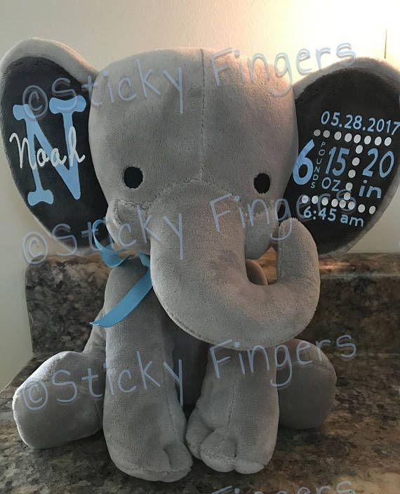 personalized stuffed elephant  birth