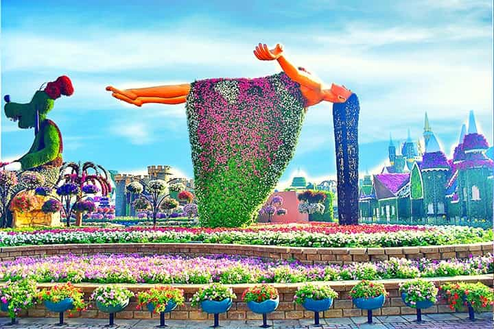 Aerial Floating Lady at Dubai Miracle Garden Miracle