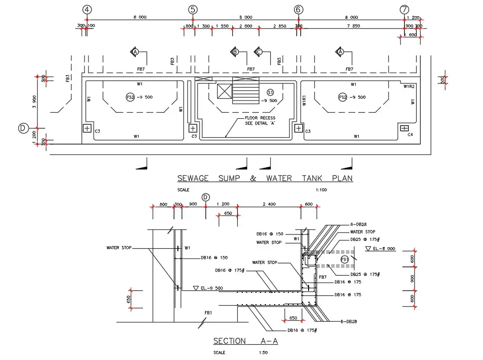 Sewage Sump And Water Tank Plan Details Are Given In This Autocad Dwg Drawing File Download The Autocad Dwg File Cadbull Autocad Water Tank Sump