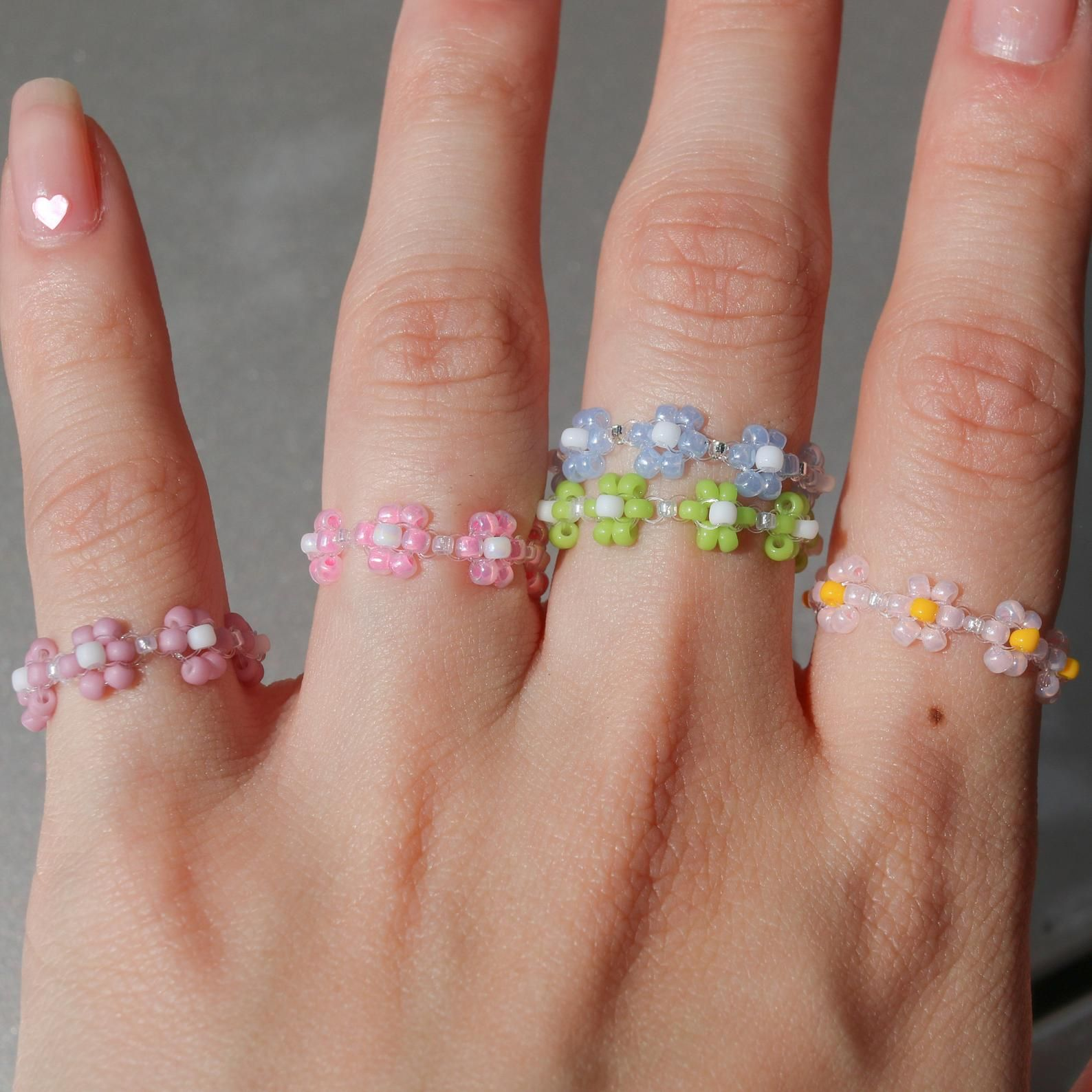 Photo of Dainty Handmade Stackable Beaded Ring, Daisy Ring, Flower Ring, Colorful Rings, VSCO Rings
