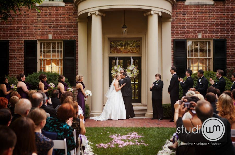 Ceremony in hill courtyard nc wedding venue perfect