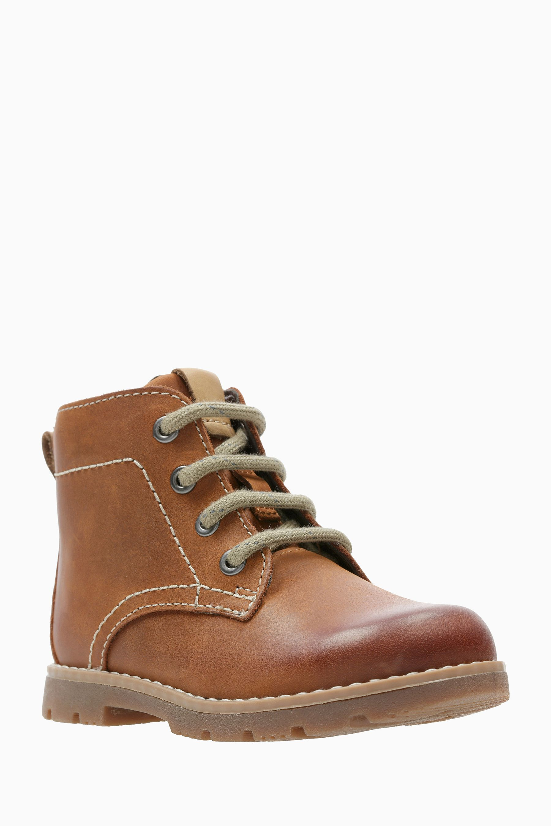 d8f59cd63a Boys Clarks Tan Leather Comet Rock Lace-Up Stitch Ankle Boot - Brown ...
