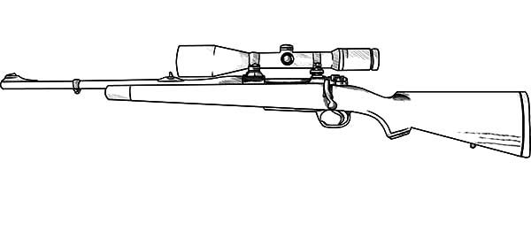 Hunting Coloring Pages Drawn Snipers Hunting Rifle Gun