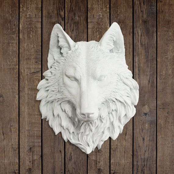 The Sierra In White Wolf Faux Taxidermy Fauxidermy Fake Animal Head Mount Decorative Ceramic Plastic Resin Wall Decor Mounted Replica