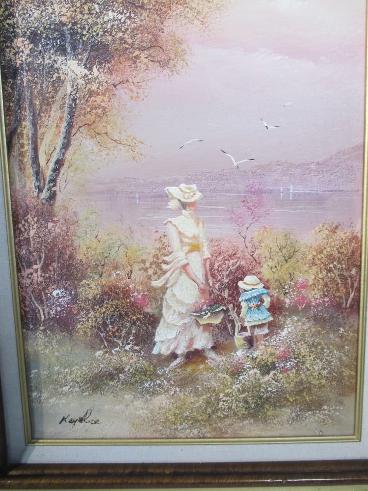 Oil Pianting Mother Daughter Flowers Vintage Collectors Corner COA ...