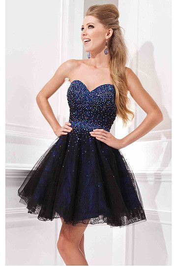 Glowing A-line Dark Royal Blue Short Prom Dresses | Cute Short ...