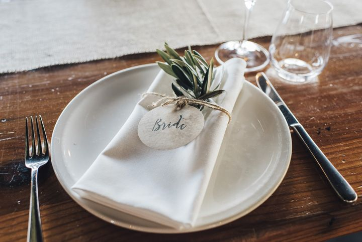 Herb Wedding place setting | itakeyou.co.uk #wedding #rustic #rusticwedding #barnwedding #vineyardwedding #realwedding #weddingphotos