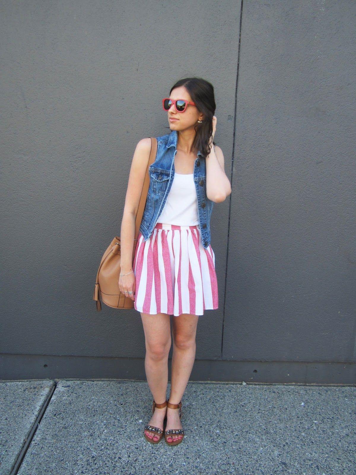 Belle At The Ball Stripe skirt, Wood sunglasses, Fashion