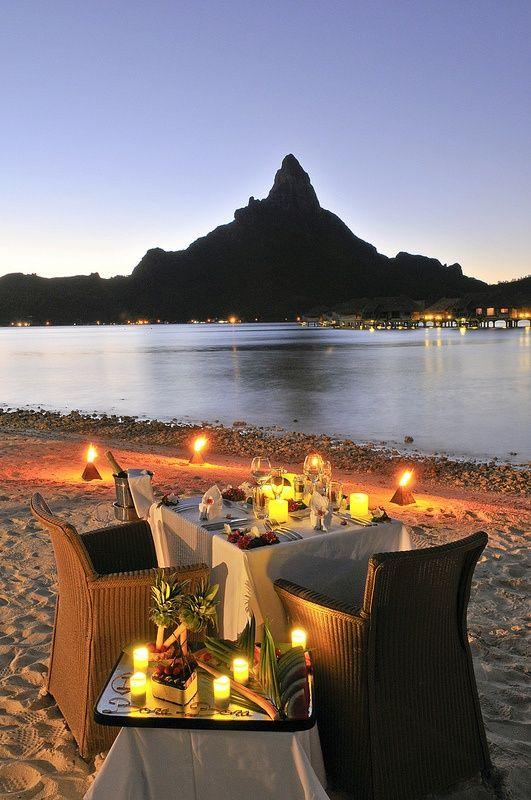 A Romantic Dinner On A Private Beach In Bora Bora Islands