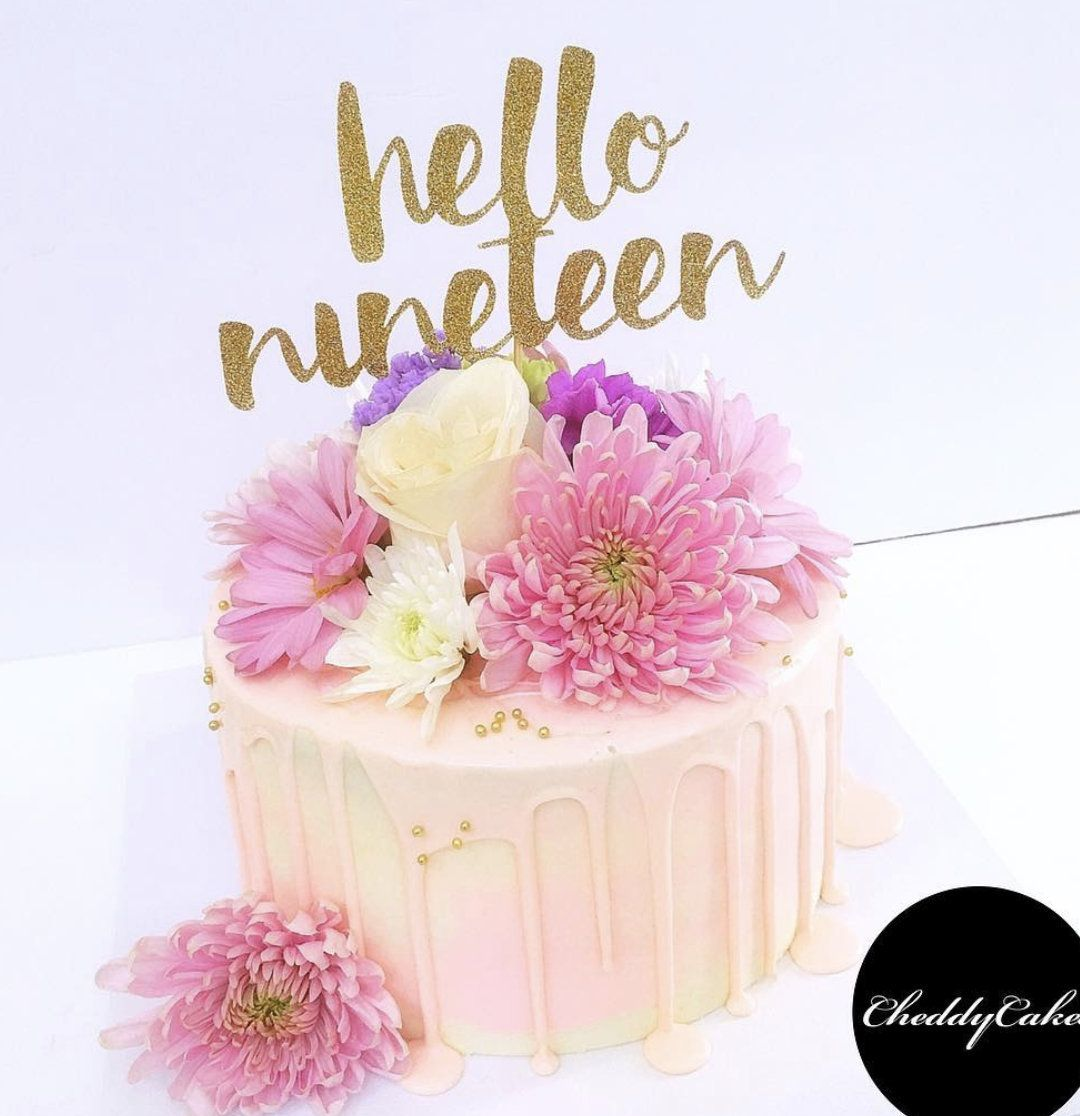 Hello 19 Cake Topper Number 19th Birthday Gold By CIBYParties On Etsy
