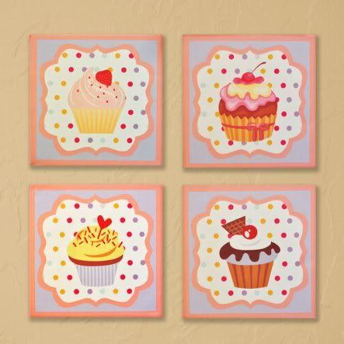 Sweet Dreams Canvas Wall Art - 4pc   Cupcake wall art ...