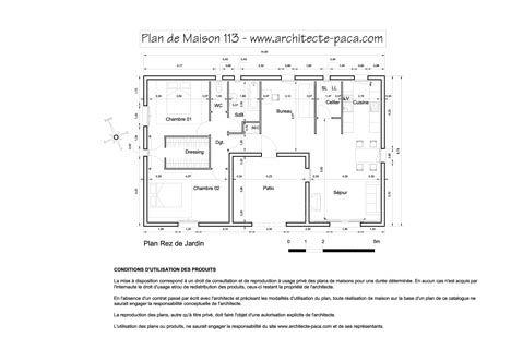 Telecharger  Plan maison en U n°113 - 1 100e avec mesure Plan
