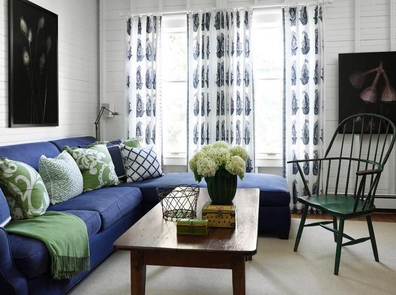 Big Sectional Sofa In Navy Blue Color With Wooden Table And Green Unique Blue Sofa Living Room Design Inspiration Design