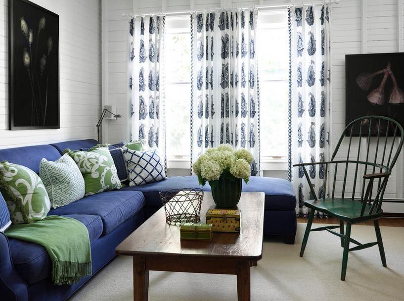 Blue Sofa Living Room Curtain Ideas