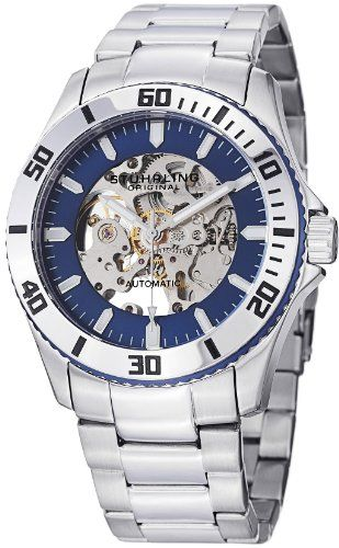 "Stuhrling Original Men's 773.02 ""Aquadiver Antilles"" Stainless Steel and Blue Skeleton Dial Automatic Watch by Stuhrling Original"