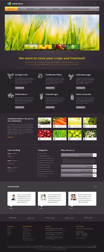 Beautiful #Wordpress theme for #Agriculture website project. $75. No ...