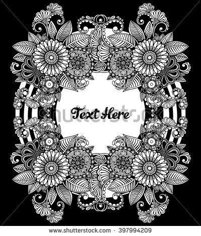 Vector Black and White Flowers Frame