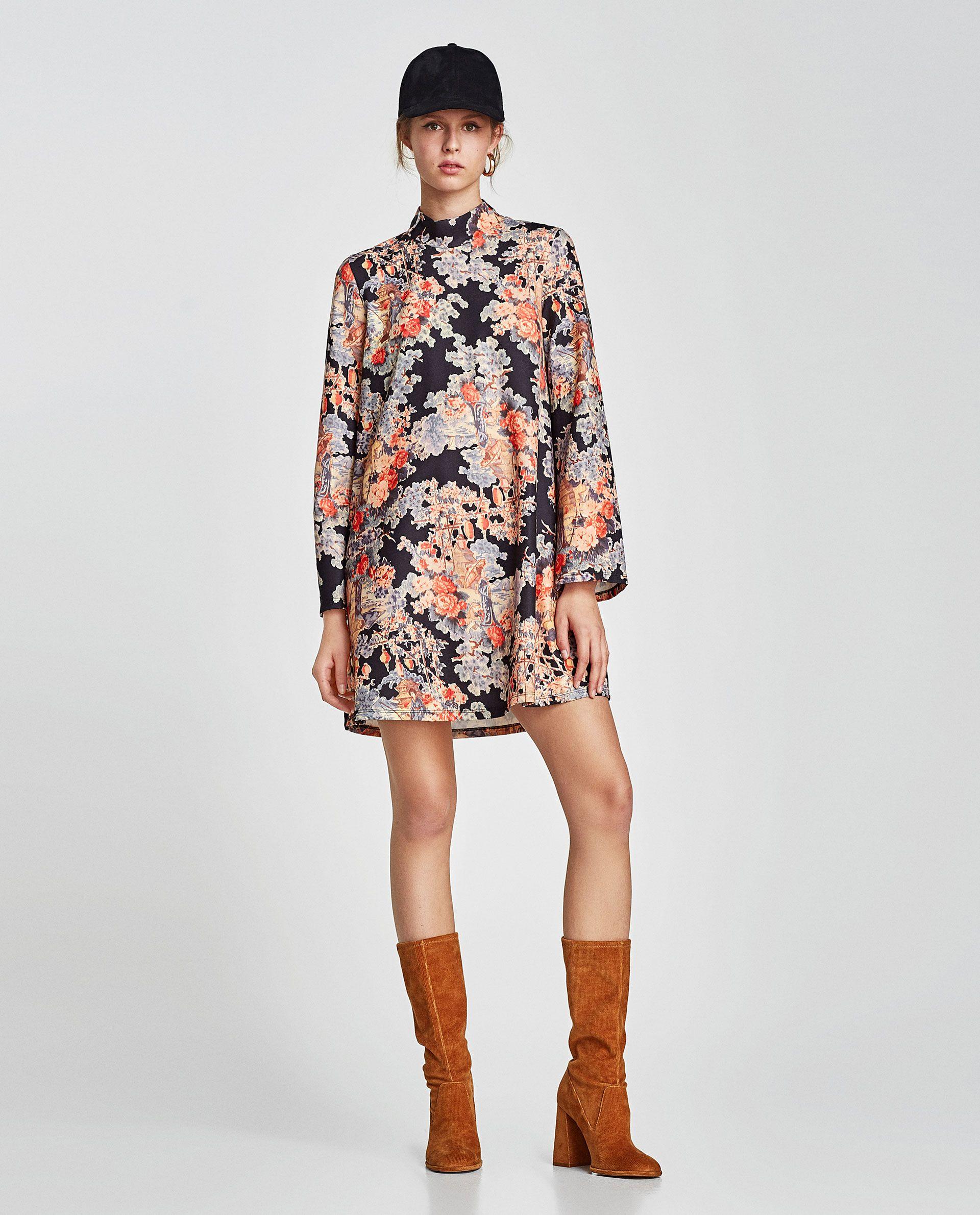 0708af33e205 VESTIDO ESTAMPADO CUELLO PERKINS | Style | Vestido estampado ...