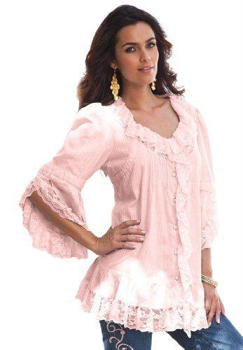 Denim 24/7 Plus Size Whitney Lace Shirt $39.99