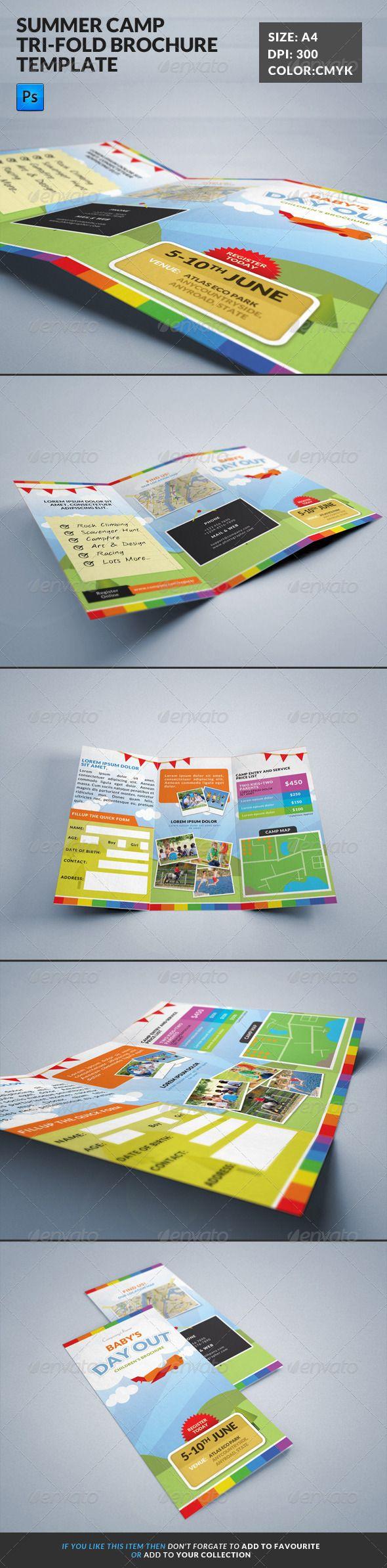 Summer Camp Kids Tri-Fold Brochure | Diseño editorial y Editorial