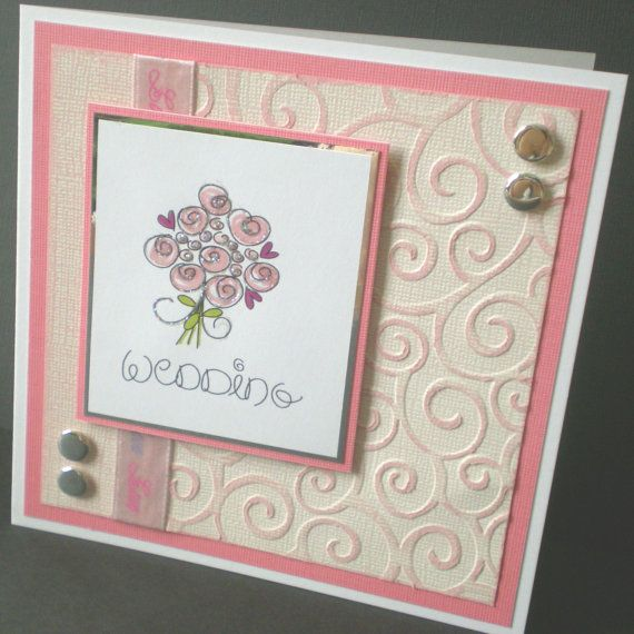Handcrafted Wedding Card Pink Bouquet Embossed By Jujucards 2 50