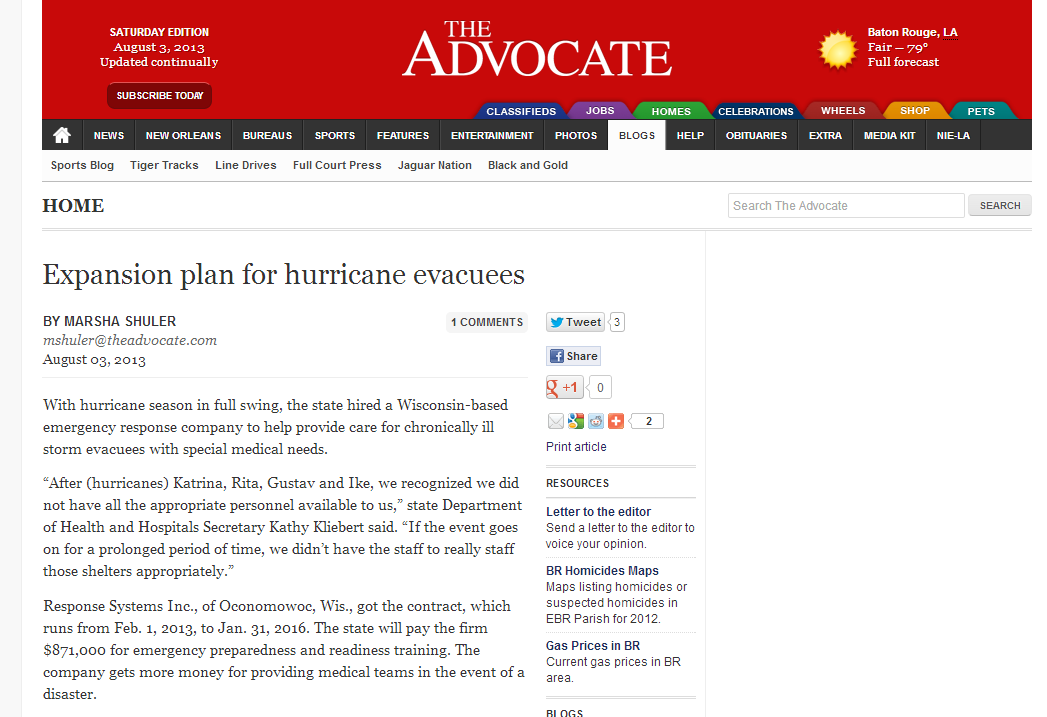 Louisiana contracted out services to private company to help plan for and train for handling evacuees with special medical conditions. The state had no formal agreements in place to handle these people before they are partnering with a private company to close that gap.  #rehlert #collaborativeplanning #Wk11collaboration #500_11  http://theadvocate.com/home/6677098-125/expansion-plan-for-hurricane-evacuees