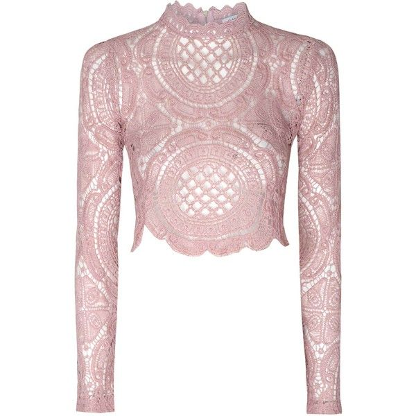 f56046b8784882 Glamorous Dusty Pink Crochet High Neck Crop Top ($34) ❤ liked on Polyvore  featuring