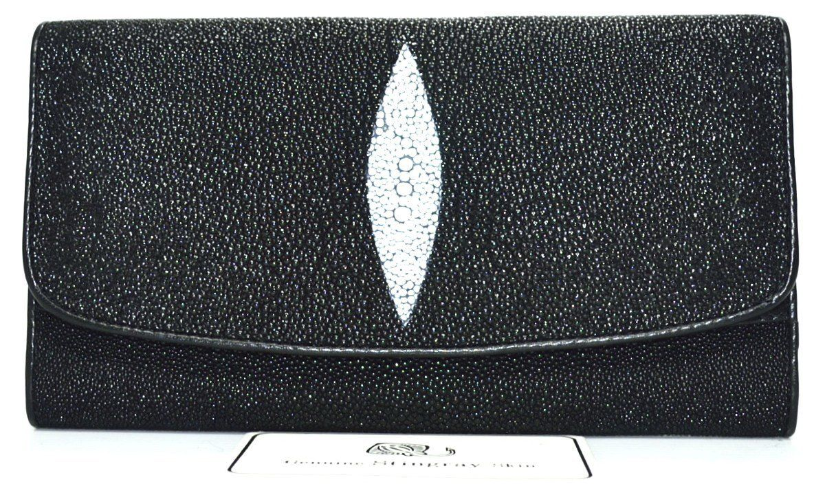 GENUINE STINGRAY SKIN CLASSY BLACK CLUTCH TRIFOLD WALLET FREE SHIPPING