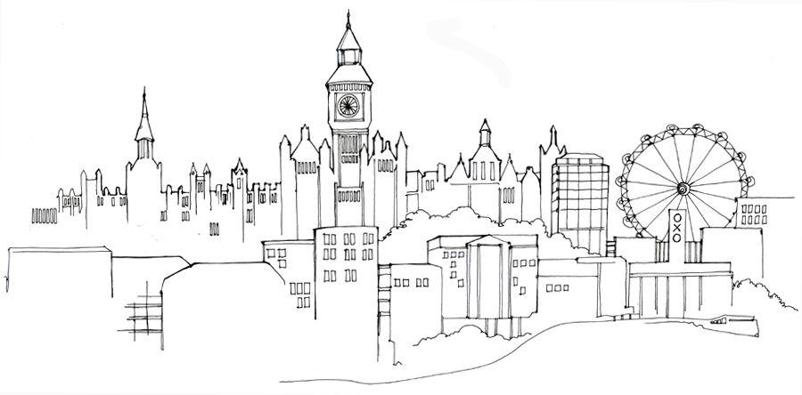 Line Drawing London : Graphic london skyline pen drawing abi daker copy g