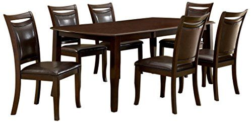 Furniture of America Carlson 7-Piece Dining Table Set wit