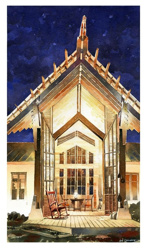 Designed and built by Josh Cooper and Iain Stewart as a thesis project in Architecture for Auburn University Rural Studio.  Watercolor by Iain Stewart.
