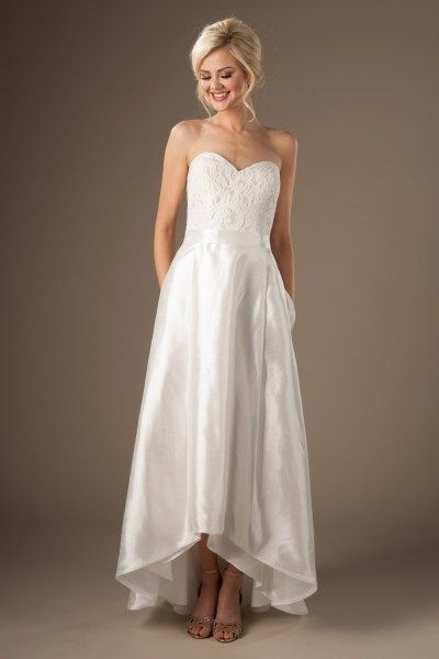 cheap wedding dresses in Utah with lace and hi-lo skirt | Jasmine ...