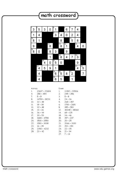 Create a math crossword puzzle and download the free