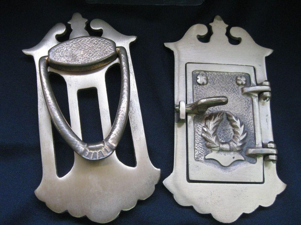Vintage Brass Speakeasy Door Knocker With Peephole Door
