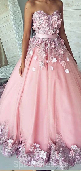Photo of Sweetheart Lace Beaded Flower A-line Long Evening Prom Dress…